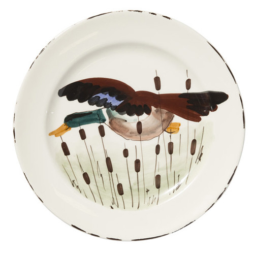 """Vietri Wildlife Mallard Dinner Plate  11""""D WDL-7800M  Celebrate the grandeur of wildlife with Vietri's whimsical collection from plumpuddingkitchen.com featuring mallards, pheasants, quails and the beloved hunting dog."""