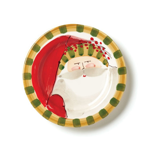 "The Old St. Nick Round Salad Plate, featuring Babbo Natale wearing a Striped Hat adds a whimsical flare to your holiday entertaining. Serve salads, appetizers, and desserts in style all season long. 8.5""D OSN-7802D"