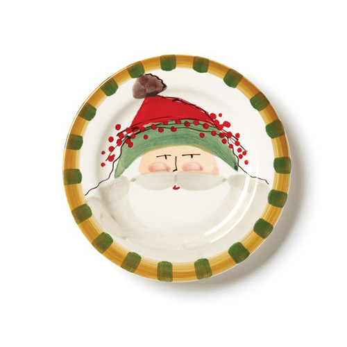 "The Old St. Nick Round Salad Plate, featuring Babbo Natale wearing a Green Hat adds a whimsical flare to your holiday entertaining. Serve salads, appetizers, and desserts in style all season long. 8.5""D OSN-7802B"