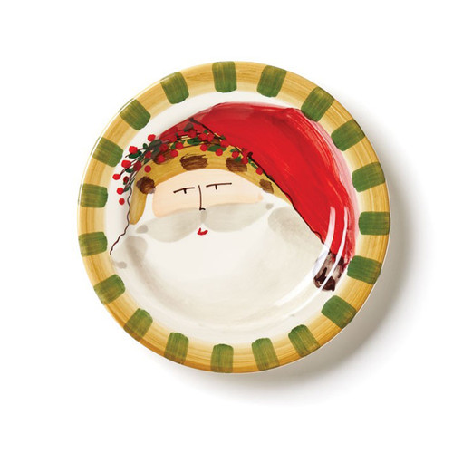 """Set your table in holiday style this season with the Vietri Old St. Nick Round Salad Plate, featuring Babbo Natale wearing an Animal Hat. 8.5""""D OSN-7802C"""