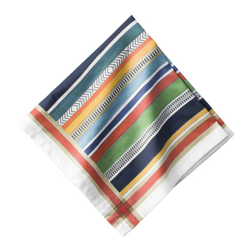 "Basque Stripe Napkin Set/4  № LB69/88 Intentionally rich in color whilst simultaneously soft, the rich stripes of this napkin, inspired by the Basque's countries rich textile heritage, will complement any table.  Measurements: 22"" Square Material: 100% Cotton Sateen Machine wash cold, gentle cycle. Tumble dry low and warm iron as needed. Made in Portugal"
