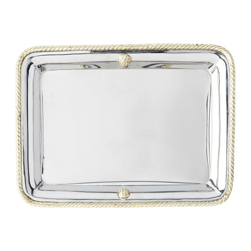 """Periton Serveware 10.5"""" Tray  № N405/67 A classic silhouette, sculpturally accented with Juliska's iconic berries and thread in gleaming silver and lustrous brass this handy tray from  plumpuddingkitchen.com will serve well coralling bits and bobs."""
