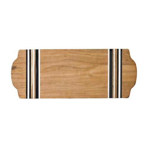 Stonewood Stripe Large Serving Board  № MS101/390 From Juliska's Stonewood Stripe Collection- A sublime setting for your next charcuterie spread, this large rectangular serving board from plumpuddingkitchen.com is perfect for entertaining. Between layers of rich Acacia Wood are stripes of hand-marbled resin - a juxtaposition of rustic and refined artisanal materials. Each piece is shaped by hand and crafted into unique entertaining pieces.
