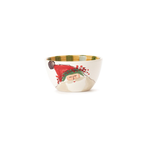 """Set your table in holiday style this season with the Old St. Nick Cereal Bowl, featuring Babbo Natale wearing a Green Hat. Serve salads, soups, and cereal with whimsical flare all season long. 5.5""""D, 3.25""""H OSN-78051B"""