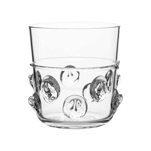 Florence Double Old Fashioned Glass  № B249/C From Juliska's Florence Collection- Redesigned for ease of use and featuring the historic Bohemian 'Prunt' motif of indulgent droplets, this glass from plumpuddingkitchen.com is the perfect way to cheers the day in opulent, fun and irresistibly tactile style.