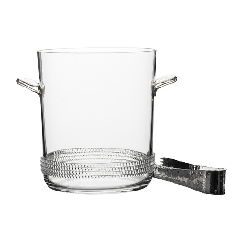 Dean Ice Bucket with Tongs  № B492/C From Juliska's Dean Collection- Our handsome, mouth blown glass is grounded with a subtle glass rope base in this beautiful ice bucket and tongs from plumpuddingkitchen.com is particularly perfect when brimming with ice cold bubbly.