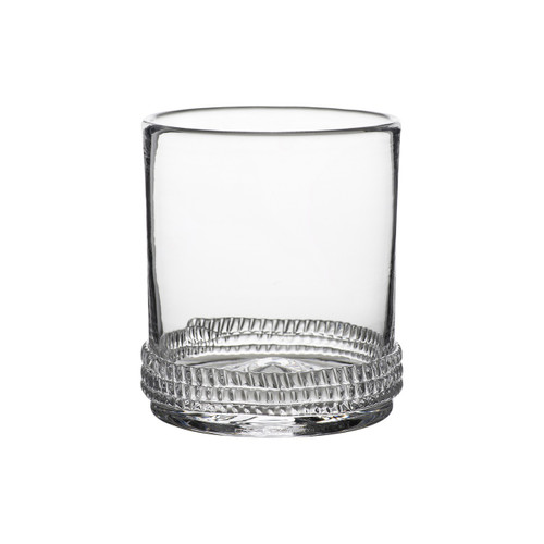 Dean Double Old Fashioned Glass  № B470/C From Juliska's Dean Collection - Cheers! Tinkling ice cubes, memorable cocktails and a room full of laughter makes an effervescent Saturday night. This handsome, mouth blown glass from plumpuddingkitchen.com is grounded with a subtle glass rope base, compliments the evening with its sturdy feel and sparkling beauty. Raise your glass!