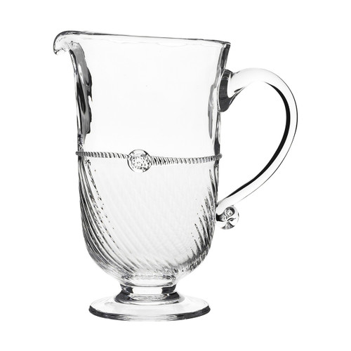 """Graham 9.5"""" Pitcher № B362/C From Juliska's Graham Collection- Crowned with a simple thread and single berry, dressed in optic glass from the waist down and belted with a charming sash this large pitcher from plumpuddingkitchen.com is a supreme vessel for iced tea, sparkling water or pink lemonade."""