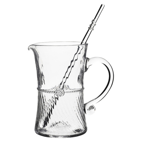 Graham Bar Pitcher with Stirrer  № B359/C From Juliska's  Graham Collection- Craft a classic cocktail for a crowd with this bar pitcher with stirrer from plumpuddingkitchen.com - crowned with a simple thread and single berry, dressed in optic glass from the waist down and belted with a charming sash.