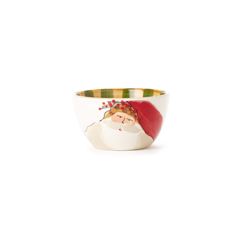 "Set your table in holiday style this Christmas with the Old St. Nick Cereal Bowl, featuring Babbo Natale wearing a Striped Hat. Serve soup, cereal, and salad with whimsical flare throughout the season. 5.5""D, 3.25""H OSN-78051D"