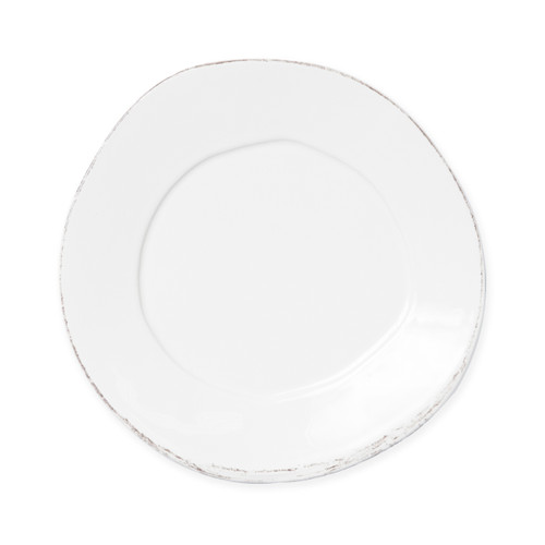 "Vietri Lastra Linen Salad Plate  LAS-2605L 8.75""D  Set your table with the rustic and clean look of Vietri's Lastra Linen dinnerware from plumpuddingkitchen.com. Inspired by an overlapping wooden mold used for centuries to form cheeses throughout Italy and crafted of durable Italian stoneware, this collection is classic and versatile and will be used for years to come."