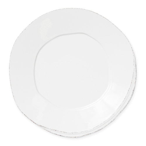 "Vietri Lastra Linen European Dinner Plate  LAS-2606L 10.5""D  Set your table with the rustic and clean look of Vietri's Lastra Linen dinnerware from plumpuddingkitchen.com. Inspired by an overlapping wooden mold used for centuries to form cheeses throughout Italy and crafted of durable Italian stoneware, this collection is classic and versatile and will be used for years to come."