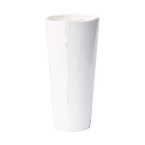 "Vietri Lastra White Large Conic Vase  LAS-2695W 5.25""D, 11""H  Set your table with the rustic and clean look of Vietri's Lastra Linen dinnerware from plumpuddingkitchen.com. Inspired by an overlapping wooden mold used for centuries to form cheeses throughout Italy and crafted of durable Italian stoneware, this collection is classic and versatile and will be used for years to come."