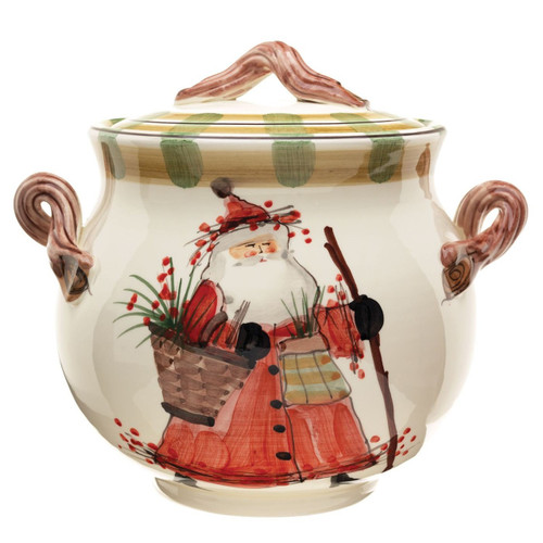 "The Old St. Nick Biscotti Jar features the handpainted designs of maestro artisan Alessandro Taddei. 11""D, 10""H OSN-7844"
