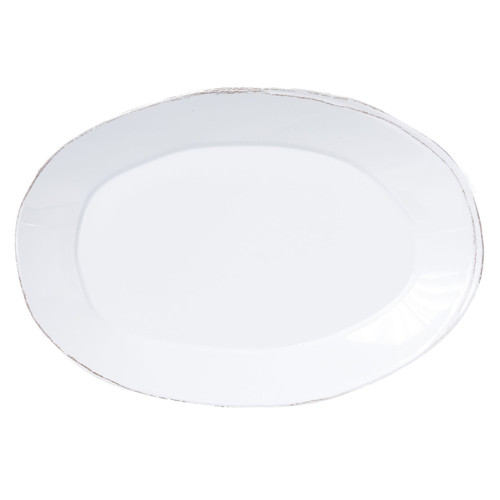 """Vietri Melamine Lastra Oval Platter  MLAS-W2326 18""""L, 12.5""""W Lastra's unique silhouettes and rustic elements take a new form in Melamine Lastra from plumpuddingkitchen.com. Lightweight yet sturdy with a glossy finish, this collection is ideal for outdoor use or meals with children."""