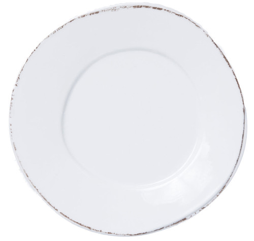 "Vietri Melamine Lastra Dinner Plate  MLAS-W2300 11""D  Lastra's unique silhouettes and rustic elements take a new form in Melamine Lastra from plumpuddingkitchen.com. Lightweight yet sturdy with a glossy finish, this collection is ideal for outdoor use or meals with children."