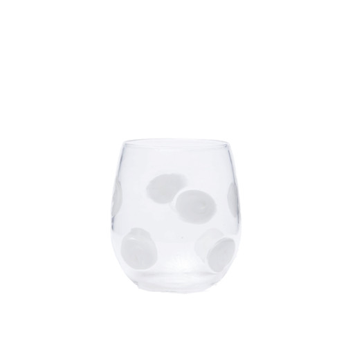 "Vietri Drop Stemless Wine Glass  DRP-5421 4""H, 10oz  Dress up your daily glass of wine with the Vietri Drop wine Glass from plumpuddingkitchen.com. Intricately mouthblown in Veneto, this beautiful collection brings a playful, chic touch to your favorite barware assortment."