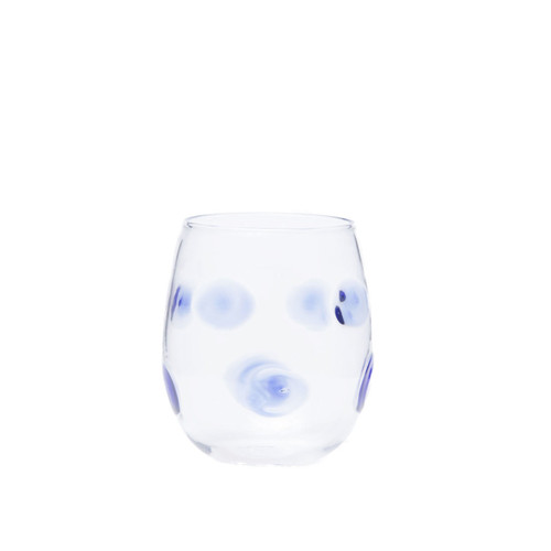 """Vietri Drop Blue Stemless Wine Glass  DRP-5421B 4""""H, 10oz  Dress up your daily glass of wine with the Vietri Drop Blue wine Glass from plumpuddingkitchen.com. Intricately mouthblown in Veneto, this beautiful collection brings a playful, chic touch to your favorite barware assortment."""