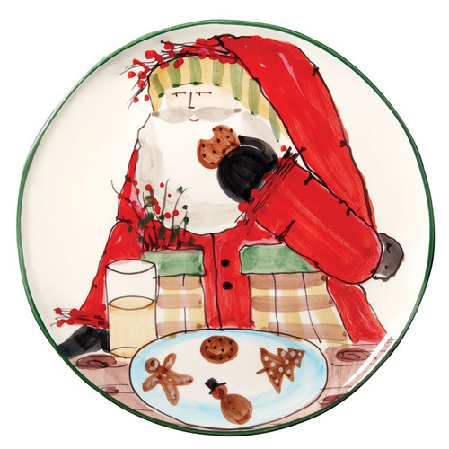 """The Old St. Nick Cookie Platter from plumpuddingkitchen.com features the handpainted design of maestro artisan Alessandro Taddei.   13.75""""D OSN-7823"""
