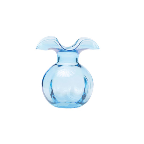 "Vietri Hibiscus Aqua Bud Vase - Gift Boxed  HBS-8580AQ 5""D, 5.5""H  Mouthblown glass transforms into the graceful Hibiscus Bud Vase from plumpuddingkitchen.com, as delicate petals dance around the top expressing joy and happiness. Versatile and elegant, this collection is a lovely accent to your coffee table or dining room."