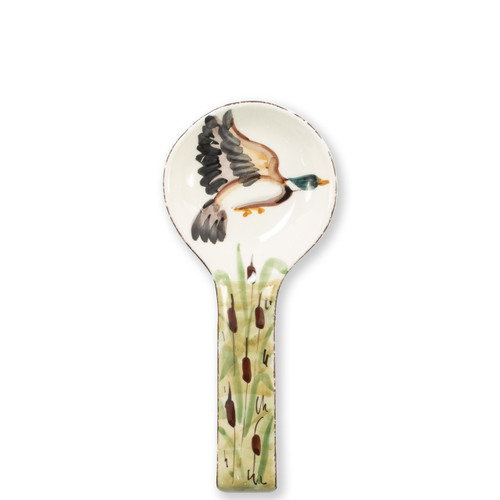 "Vietri Wildlife Malard Spoon Rest  WDL-7891 10.5""L, 4.5""W  Celebrate the grandeur of wildlife with Vietri's whimsical Wildlife collection from plumpuddingkitchen.com featuring mallards, pheasants, quails and the beloved hunting dog."