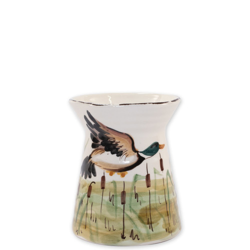 "Vietri Wildlife Mallard Utensil Holder  WDL-7881 5.25""D, 7""H  Celebrate the grandeur of wildlife with Vietri's whimsical Wildlife collection from plumpuddingkitchen.com featuring mallards, pheasants, quails and the beloved hunting dog."