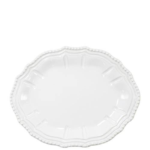 "Vietri Incanto Stone Baroque Small Oval Platter  SINC-W1124C 12.5""L, 9.75""W  Classic and enchanting, the beautiful designs of VIETRI's beloved Incanto collection from plumpuddingkitchen.com evolve in a new, durable stoneware."