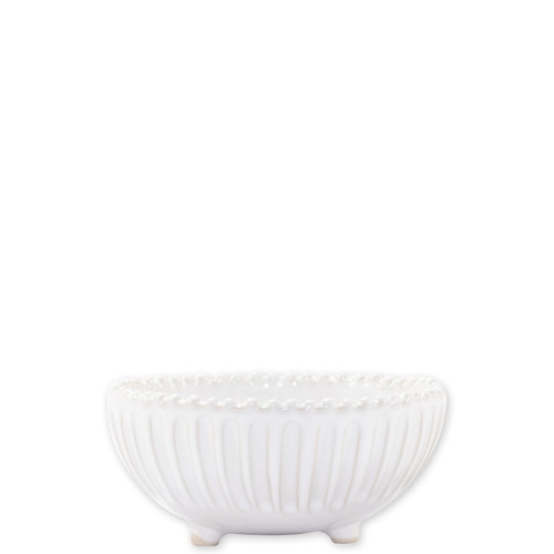 "Vietri Incanto Stone Stripe Footed Bowl SINC-W1103A 5.5""D, 2.5""H  Classic and enchanting, the beautiful designs of VIETRI's beloved Incanto collection from plumpuddingkitchen.com evolve in a new, durable stoneware."