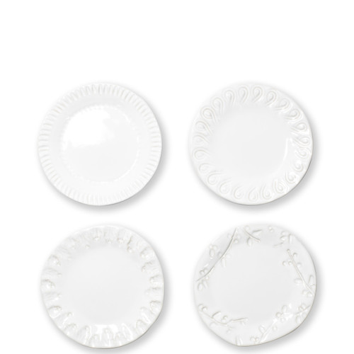 "Vietri Incanto Stone Assorted Canape Plates Set/4  SINC-W1119 6""W  Classic and enchanting, the beautiful designs of VIETRI's beloved Incanto collection from plumpuddingkitchen.com evolve in a new, durable stoneware."