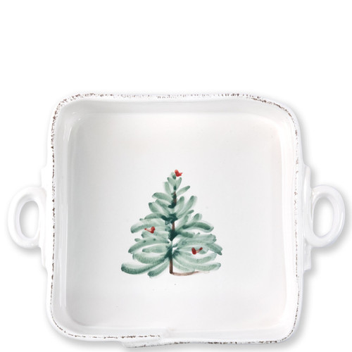 "Vietri Lastra Holiday Square Baker  LAH-2657 11.5""L, 8.5""W, 3""H  Make time for your loved ones this season when you gather around the cheerful design of Vietri's Lastra Holiday from plumpuddingkitchen.com!"