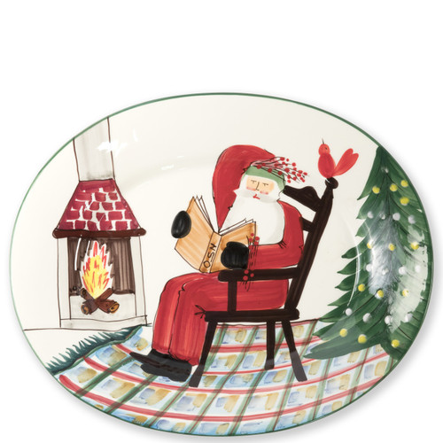 """Vietri Old St Nick Large Oval Platter with Santa Reading  OSN-78058 20""""L, 16""""W What could be more whimsical than the individual portraits of Vietri's Old St. Nick from plumpuddingkitchen.com!"""