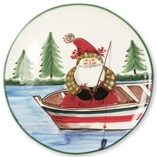 """Vietri Old St Nick Round Platter Fishing  OSN-78070 13.75""""D  What could be more whimsical than the individual portraits of Vietri's Old St. Nick from plumpuddingkitchen.com!"""