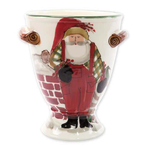 "Vietri Old St Nick Footed Urn with Chimney and Stockings  OSN-78066 9""D, 10""H  What could be more whimsical than the individual portraits of Vietri's Old St. Nick from plumpuddingkitchen.com!"