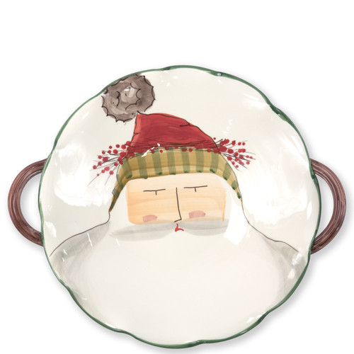 "Vietri Old St Nick Scallop Handled Bowl with Face  OSN-78063 16.25""D, 3""H  What could be more whimsical than the individual portraits of Vietri's Old St. Nick from plumpuddingkitchen.com!"
