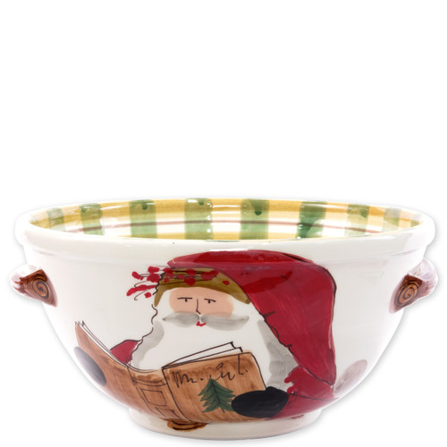 """Vietri Old St Nick Handled Medium Bowl with Santa Reading  OSN-78064 12.5""""D, 6""""H  What could be more whimsical than the individual portraits of Vietri's Old St. Nick from plumpuddingkitchen.com!"""