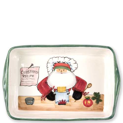 """Vietri Old St Nick Rectangular Baker with Chef  OSN-78062 14""""L, 9""""W, 3""""H  What could be more whimsical than the individual portraits of Vietri's Old St. Nick from plumpuddingkitchen.com!"""