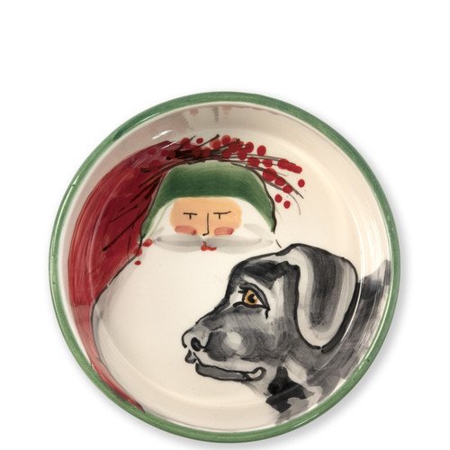 """Vietri Old St Nick Dog Bowl  OSN-78060 7.25""""D, 3""""H  What could be more whimsical than the individual portraits of Vietri's Old St. Nick from plumpuddingkitchen.com!"""
