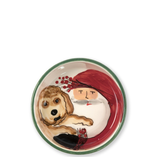 "Vietri Old St Nick Small Dog Bowl  OSN-78059 5.5""D, 2""H  What could be more whimsical than the individual portraits of Vietri's Old St. Nick from plumpuddingkitchen.com!"