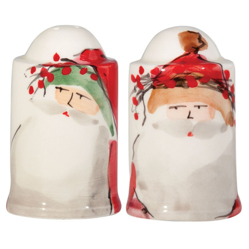 """The Old St. Nick Salt and Pepper Shaker Set features the handpainted designs by maestro artisan Alessandro Taddei. 3"""" H OSN-7808"""
