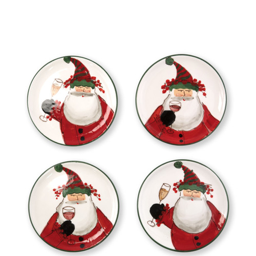 """Vietri Old St Nick Cocktail Plates Set/4 Gift Boxed  OSN-78072-GB 6.75""""D  What could be more whimsical than the individual portraits of Vietri's Old St. Nick from plumpuddingkitchen.com!"""