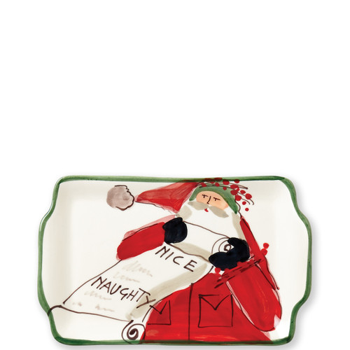 "Vietri Old St Nick Rectangular Plate - Naughty or Nice Gift Boxed  OSN-78071-GB 7.5""L, 5.25""W  What could be more whimsical than the individual portraits of Vietri's Old St. Nick from plumpuddingkitchen.com!"