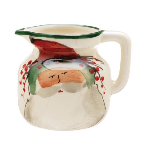 "The Old St. Nick Creamer features the handpainted designs of maestro artisan Alessandro Taddei. 4""H, 8 oz OSN-7813"