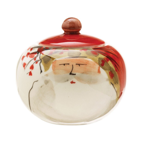 "The Old St. Nick Sugar Bowl features the handpainted designs of maestro artisan Alessandro Taddei. 4"" H OSN-7814"