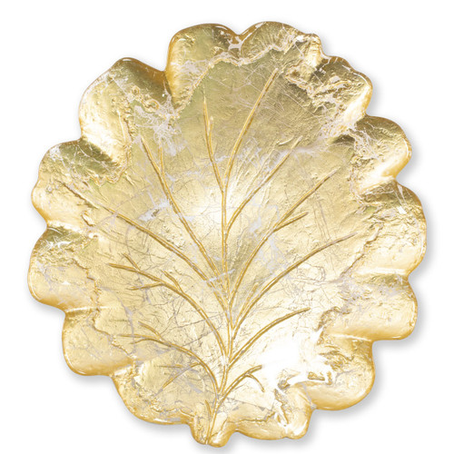 "Vietri Moon Glass Leaf Platter  MNN-5222 15.5""L, 14.5""W  Celebrate the traditional technique used by Italians to make picture frames with the Moon Glass from plumpuddingkitchen.com. Featuring a beautiful golden hue, each piece of Moon Glass is handpressed with metallic gold and then polished to create a textured effect."
