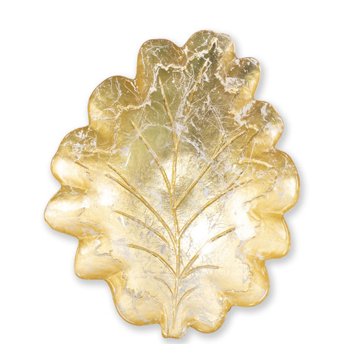 "Vietri Moon Glass Leaf Medium Bowl  MNN-5237 12.75""L, 10.5""W  Celebrate the traditional technique used by Italians to make picture frames with the Moon Glass from plumpuddingkitchen.com. Featuring a beautiful golden hue, each piece of Moon Glass is handpressed with metallic gold and then polished to create a textured effect."