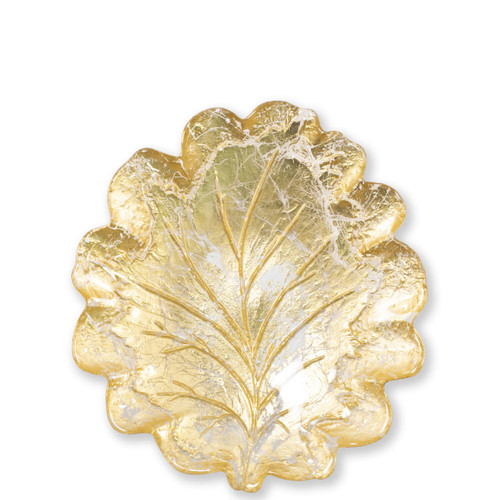 "Vietri Moon Glass Leaf Salad Plate  MNN-5201 9.25""L, 8.5""W  Celebrate the traditional technique used by Italians to make picture frames with the Moon Glass from plumpuddingkitchen.com. Featuring a beautiful golden hue, each piece of Moon Glass is handpressed with metallic gold and then polished to create a textured effect."