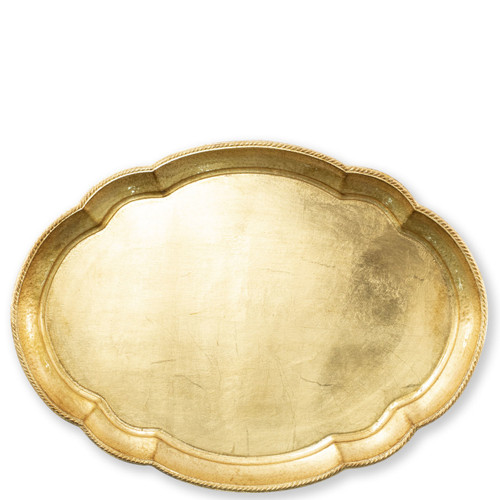 "Vietri Florentine Wooden Large Oval Tray  FWD-6211 21.75""L, 16""W  Florentine Wooden Accessories from plumpuddingkitchen.com, inspired by the artistry of the Renaissance, blend ancient techniques with modern interpretation resulting in classic shapes and soft curves.   Maestro artisans handcarve each piece before applying a beautiful gold leaf."