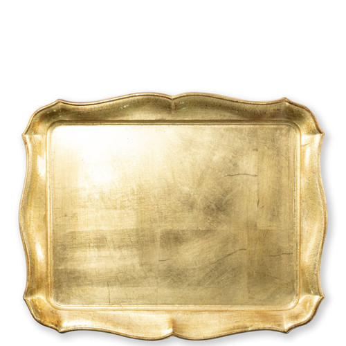 """Vietri Florentine Wooden Rectangular Tray  FWD-6212 17.5""""L, 14""""W Florentine Wooden Accessories from plumpuddingkitchen.com, inspired by the artistry of the Renaissance, blend ancient techniques with modern interpretation resulting in classic shapes and soft curves.   Maestro artisans handcarve each piece before applying a beautiful gold leaf."""