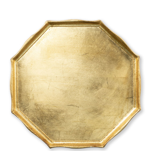 """Vietri Florentine Wooden Octagonal Tray  FWD-6213 14.5""""D  Florentine Wooden Accessories from plumpuddingkitchen.com, inspired by the artistry of the Renaissance, blend ancient techniques with modern interpretation resulting in classic shapes and soft curves.   Maestro artisans handcarve each piece before applying a beautiful gold leaf."""