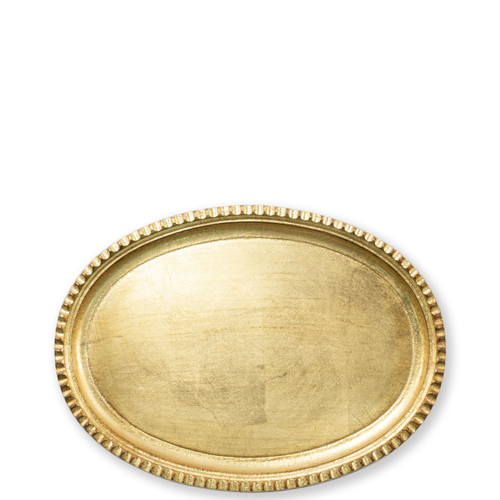"""Vietri Florentine Wooden Small Oval Tray  FWD-6210 12.75""""L, 9.25""""W  Florentine Wooden Accessories from plumpuddingkitchen.com, inspired by the artistry of the Renaissance, blend ancient techniques with modern interpretation resulting in classic shapes and soft curves.   Maestro artisans handcarve each piece before applying a beautiful gold leaf."""